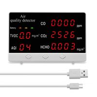 KKmoon CO2 Messgerät Kohlendioxid-Messgerät CO CO2 HCHO TVOC-Detektor Multifunktionale Digitalanzeige Hochgenauer Luftqualitätsanalysator Monitor für Zuhause Büro Auto Außen Innen