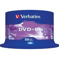 Verbatim Beschreibbare DVD - DVD+R Rohling - 4,70 GB - 16x Schreibgeschwindigkeit - 50er Pack - 120mm - 2 Stunde(n) Maximale Aufnahmezeit
