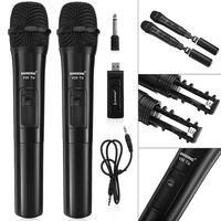 Wireless Microphone Mikrofon Set  2 Kanal UHF/VHF Hand Funkmikrofon Drahtlos Mic