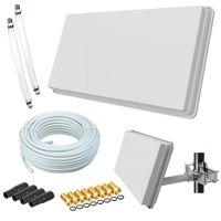 Selfsat H30D2+ Flachantenne Twin + 20m Kabel + Fensterhalterung + 2 Fensterdurchführung + 8 F-Stecker + 4 Wetterschutztüllen (Full HD 4K UHD Sat Anlage für 2 Teilnehmer)