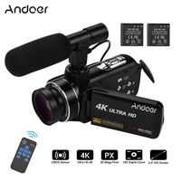 Andoer 4K Ultra HD Handheld DV Professional Digitale Videokamera CMOS-Sensor-Camcorder mit 0,45-fachem Weitwinkelobjektiv und Makro-Stereo-On-Camera-Mikrofon Hot Shoe Mount 3,0-Zoll-IPS-Monitor Burst Shooting Anti-Shaking-Funktion