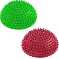 2er-Set Balance-Kugel »Igel« zur Steigerung der Balance / Koordination. Ideal für Balance-Training 320g zirka 8cm hoch und 16cm Durchmesser in grün/rot