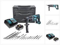 Makita DHR 241 ST1X Akku Bohrhammer 18 V 2,0 J SDS plus + 1x Akku 5,0 Ah + Ladegerät + 16 tlg. Bohrer Meißel Set + Makbox