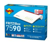 AVM FRITZ!Box 7590 Router (DSL bis 300, mesh, WLAN AC, 2,4 GHz, 5 GHz, WAN, Gigabit-LAN, DECT, USB, Telefonie, Media, MU-MIMO, 20002784)