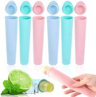 Eisformen Silikon,6 Stück Wassereis Formen,Wiederverwendbare Stieleisformer, Ice Pop Maker Formen Set - 100% Lebensmittel Silikon- BPA frei