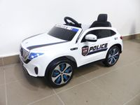 Kinder Elektroauto Mercedes EQC Polizei 2x Motoren MP3 USB Fernsteuerung Weiss