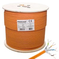 PremiumX 500m CAT 7 Netzwerkkabel Simplex LAN Kabel Ethernet Datenkabel Cat7