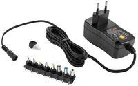 Poppstar Universal Netzteil 3 / 4,5 / 5 / 6 / 7,5 / 9 / 12 V 1.5A (1500mA) und 8 Adapter-Stecker, LED, 150cm