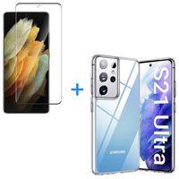 Samsung Galaxy S21 Ultra 5G Panzerglas Schutz Folie Hart-Glas + Schutzhülle Transparent Silikon Case Full-Cover Full Screen