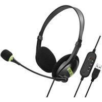 USB Headset PC Headset mit Mikrofon Noise Cancelling Lautstärkeregler Call Control Ultra Komfort Computer Chat Headset für Skype Webinar Homeoffice Gaming e-Learning