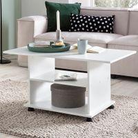 FineBuy Design Couchtisch 95 x 51 x 54,5 cm Drehbar mit Rollen   Wohnzimmertisch Coffee Table   Sofatisch Loungetisch Holz   Kaffeetisch mit Stauraum , Farbe Artikel:Weiß