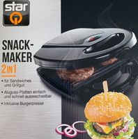 Burger - Sandwich Snack Maker 2in1 Grill inkl. Burgerpresse Aluguss-Platten NEU