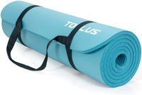 TOPLUS Verdickte Gymnastikmatte e Yogamatte rutschfest und gelenkschonend Sportmatte für Yoga Pilates Sport mit praktischem Trageband Pilatesmatte 183 * 61 * 1 cm,Blau