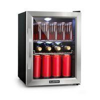 Klarstein Beersafe M Kühlschrank , Kompressionskühlsystem , 35 Liter Fassungsvermögen , 5 Kühlstufen ,   , geräuscharm: 42 dB , 2 flexible Metallböden , LED-Licht , Glastür mit Edelstahlrahmen , schwarz
