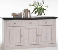 Steens - Monaco Sideboard 3 Türen, 3 Schubladen - Material: Kiefer - Verarbeitung: White-Wash/kolonial gebeizt - H x B x T - 78 x 145 x 47 cm