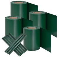 PVC Sichtschutzstreifen 4er Set mit 120 Befestigungsclips - 4 Rollen á 35m x 19cm Sichtschutz für Doppelstabmatten Zaun - Zaunfolie grün | Juskys