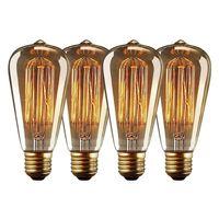 Edison Vintage Glühbirne, 4 Pack E27 ST64 Edison Glühbirne Warmwiess 40W 220V