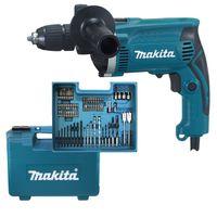 Makita HP1631KX3 Schlagbohrmaschine im Koffer, 710 W inklusiv 74 teilig Zubehör