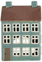 """IB Laursen - Keramik Haus """"Nyhavn"""" für Teelicht (braunes Dach, 2 Schornsteine)"""