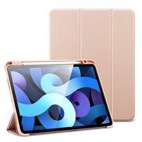 Kartokner Folio Hülle für iPad Air 10.9 2020(4.Generation) [Mit Stifthalter] [Weiche Flexible Hülle] [Trifold Ständer], Rose.