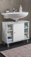 Wilmes Waschbecken Unterschrank 1-trg. mit 6 Fächern - Farbe: Beton / Weiß Melamin Nachbildung - Maße: 60 cm x 54 cm x 32 cm; 85002-57 0 75
