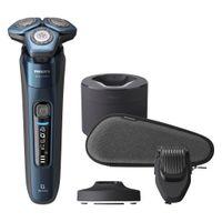 Philips SHAVER Series 7000 S7786/59, Rotationstrasierer, SkinIQ, SkinGlide, Edelstahl, Tasten, Schwarz, Blau, LED