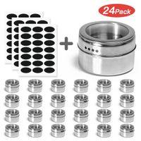 Haoshengli 24-teiliges magnetisches Gewürzdosen-Set für die Küche, Edelstahl-Aufbewahrungsgewürzbehälter mit Sieb- oder Gießfenster- und Gewürzetiketten, Gewürzdosen-Magnetgefäße für den Kühlschrankgrill