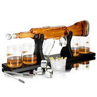 Whisiskey® Whisky Karaffe - Gewehr - Whiskey Set - 1000ML – Inkl. 4 Whisky Steine, 4 Whisky Gläser & Ausgießer - Whisky Dekanter - Geschenke für Männer – Whiskygläser