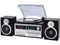 Stereo Plattenspielersystem mit Digital DAB / DAB Empfänger + Bluetooth-Encoding, Kassette, Fernbedienung in schwarz TT 1072