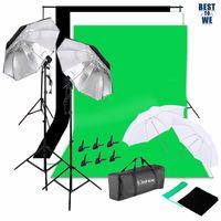 Kshioe Profi Fotostudio Set inkl. 2 x 3m Hintergrundständers Hintergrundsystem mit 1.6 x 3m Reiner Screen Hintergrund(schwarz /weiß /grün),135W E27 Regenschirm Hintergrundhalterung Faservlies Hintergrundvorhang Halterung Set Produktfotografie und Videoaufnahme