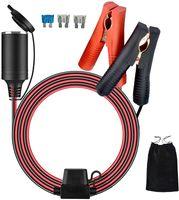 Boomersun 3.2M 12/24V KFZ Zigarettenanzünder Stecker Verlängerungskabel Auto Batterieklemme (Alligator Clip) mit Sicherungsschutz