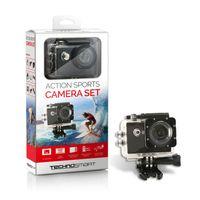 TECHNOSMART Full HD 1080P ActionCam, Wasserdichte Aktionkamera, Unterwasserkamera, Sport Action Camera, mit 2 Zoll LCD Bildschirm, 200 mAh Li-ion Akku mit Zubehör Kits
