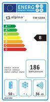 Alpina Getränke- & Weinkühlschrank für 18 Flaschen, Weinkühler, Kühlvitrinen, Flaschenkühler, 50 Liter, Temperatur: 11-18 °C, Schwarz
