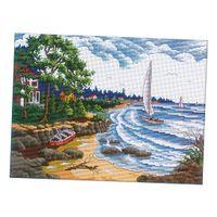 Stickset- Meer Landschaft, Kreuzstich Stickpackung Stickbild Stickvorlage vorgedruckt Selber Sticken, 50 x 40 cm