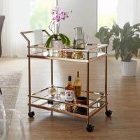 WOHNLING Design Servierwagen Dunkles Gold 2 Ebenen mit Bremsen   Beistelltisch auf Rollen   Speisewagen mit Glasplatte   Küchenwagen   Teewagen