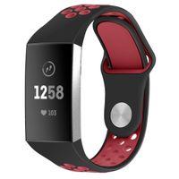 Fitbit Charge 3/4 Armband Silikon schwarz/rot (S)
