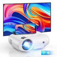 Bomaker Beamer mit 2,4 G + 5,8 G WiFi und Bluetooth, unterstützt nativen 1080P Full HD Outdoor Video Beamer Kompatibel mit TV-Stick, integrierter DSP-Lautsprecher
