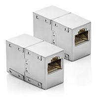 deleyCON CAT6 RJ45 Kupplung Verbinder Netzwerkkabel Patchkabel Ethernetkabel Adapter Modular Geschirmt 2x RJ45 Buchse DSL LAN RJ45 2 Stück