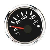 Auto Boot Wassertemperatur Anzeige Wasserdichtes Zusatzinstrument, Φ 52 mm, 40-120 ℃, Schwarz