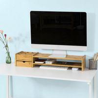 SoBuy Monitorständer Bildschirmständer mit 2 Stufen und 2 seitlichen BBF01-N