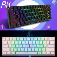 Royal Kludge RK61 Bluetooth & Verkabelt Dual Mode 60% RGB Mechanische Spieletastatur Gaming Tastatur Englisches Layout Farbe: Schwarz Switch: Brauner Schalter