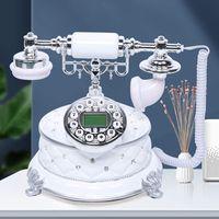 Desktop Vintage Telefon Weiß Retro Veste Telefon Anrufer Dekoration Antik-Telefon im Retro-Stil mit Anzeige und Auto-IP