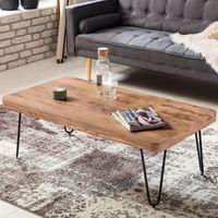 WOHNLING Couchtisch BAGLI Massiv-Holz Akazie 115 cm breit Wohnzimmer-Tisch Design Metallbeine Landhaus-Stil Beistelltisch