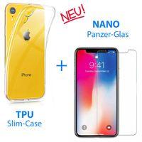 "iPhone XR 6,1"" Panzerfolie Schutzfolie Matt Glas 9H + Schutzhülle Silikon Case"