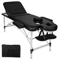 tectake 3 Zonen Massageliege mit 5cm Polsterung und Aluminiumgestell - schwarz