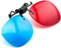 3D-Brillenclip rot / blau (3D-geprägte Brille) für Brillenträger für 3D-PC-Spiele