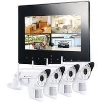 VisorTech DSC-720.mc Funk Überwachungs-Set mit 4 weißen LED-HD-Kameras + Monitor