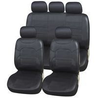 Autositzbezüge Kunstleder Set | Upgrade4cars Autositzschoner in Schwarz | Autositzbezug Universal in Leder-Optik | Auto-Zubehör Innenraum