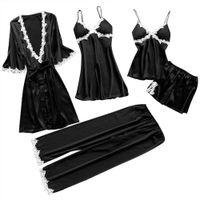 5Pcs Frauen Sexy Spitze Nachtwäsche Unterwäsche Anzug Babydoll Nachtwäsche Hosen Kleid||Schwarz