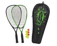 Schildkröt Speed-Badminton Set, 2 handliche Aluminium-Rackets, Länge 54,5cm, 3 windstabile Bälle, perfekt geeignet für ein windstabiles und schnelles Federball, wertige Tasche, grün-schwarz